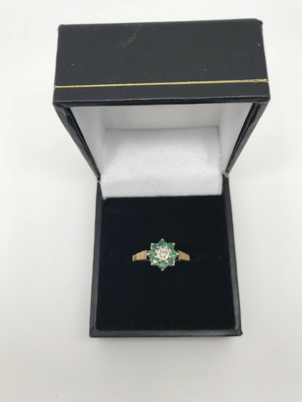 9ct Yellow gold .01 Carat Diamond and Emerald Ring Size N 1 2