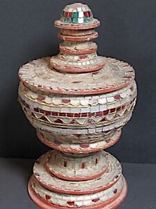 Antique Oire Traditional Wooden With Glassware, Burma