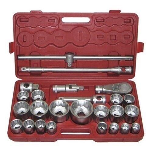 "26 Piece 3//4/"" /& 1/"" Drive Metric 12 Point Large Ratchet Socket Set Tool Kit"