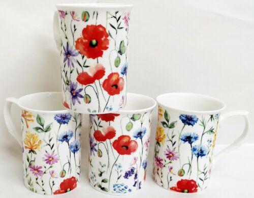 Wildflowers Meadow Mugs Set 4 Fine Bone China Multi Colour 10.5oz Cups Decor UK