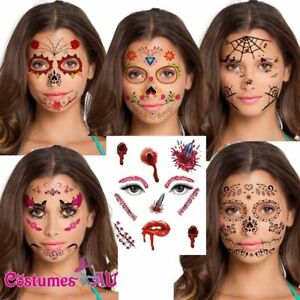 Halloween Day Of The Dead Party Temporary Face Tattoo Costume