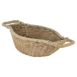 """Small Decorative Oval Jute Woven Storage Organizer Basket Bowl with Handles, 15"""""""