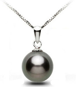 925-Sterling-Silver-Black-Pearl-Pendant-Necklace-Fashion-Jewelry-Prom-Party