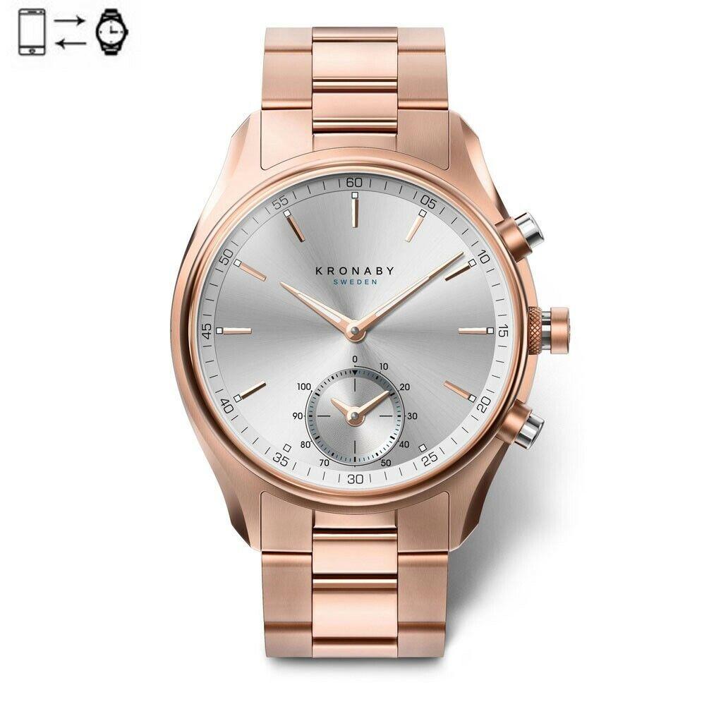 Kronaby Sekel connected watch 43mm Rose Silver rose gold bracelet S2745/1