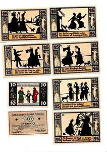 Apolda Notgeld 8 Scheine. Los 1313. schoeniger-notgeld