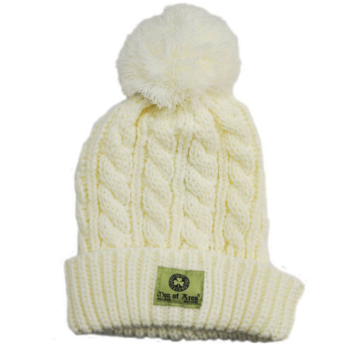 Natural Colour Man Of Aran Knit Style Bobble Hat With Irish Cable Stitch