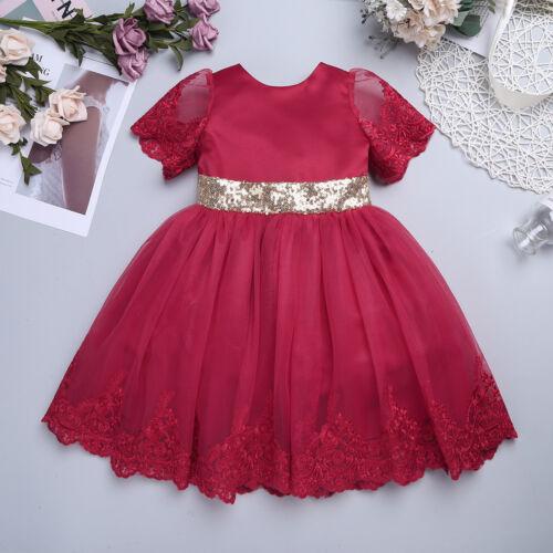 Baby Flower Girls Princess Dress Party Wedding Christening Sequin Bow Tutu Dress