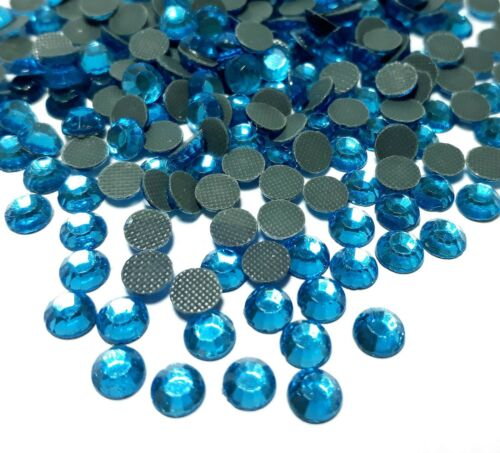 700 HotFix pedrería 3mm ss10 Aquamarine azul vidrio pedrería perchas piedras Best 72