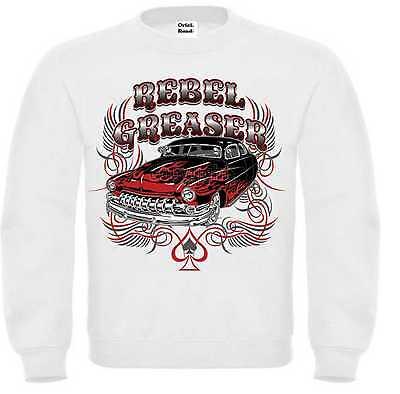 Di Carattere Dolce Felpa Bianco Hot Rod-, Us Car &' 50 Style Motivo Modello Rebel Razor-mostra Il Titolo Originale
