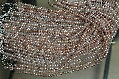 B5089 ONE STRAND NATURAL CREAM TO ROSE FRESHWATER PEARL LOOSE JEWELRY CRAFT BEAD