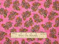 RJR Sew Catty Dan Morris Garden Flower Whimsy Floral Pink Cotton Fabric YARD