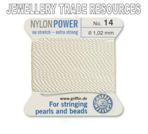 Puissance de Nylon Blanc Fil Chaîne soyeux 1,02 mm stringing perles /& perles Griffin 14