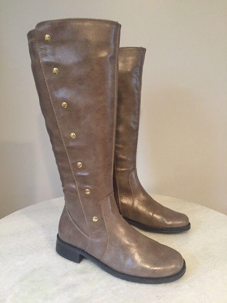 Aerosoles Tan Women's Boots Riding Rideover Knee High Tall Wide Calf 7 M