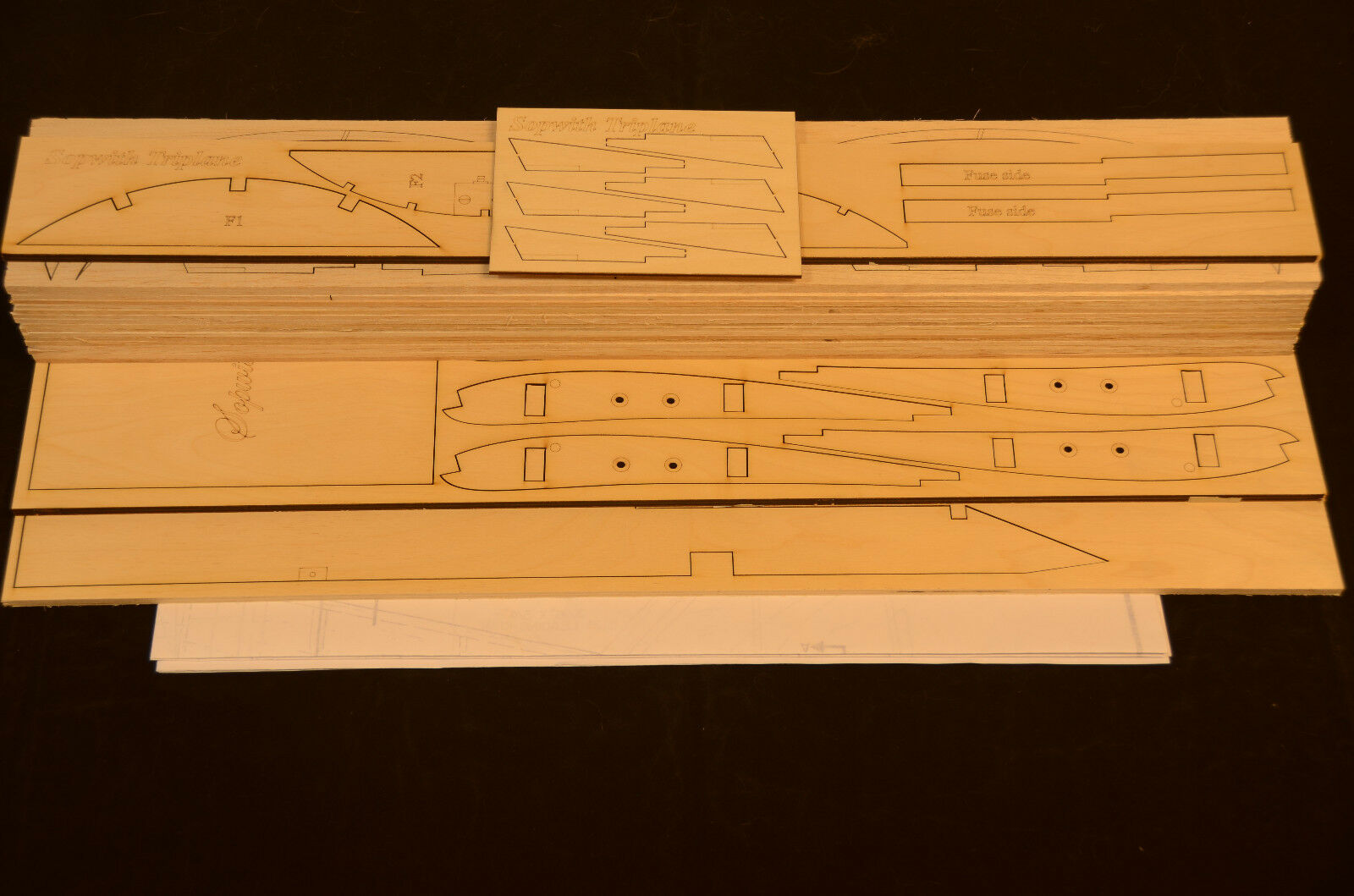Giant 1 4 Scale SOPWITH TRIPLANE Laser Cut Short Kit & Plans 79.5 in. Wing span