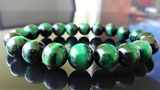 "Genuine Emerald Green Tiger Eye Bead Bracelet for Men (On Stretch) 10mm 8"" inch"