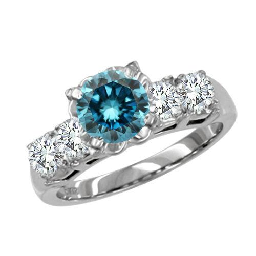 0.45 Carat bluee SI2 5 Stone Round Diamond Engagement Ring 14K White gold