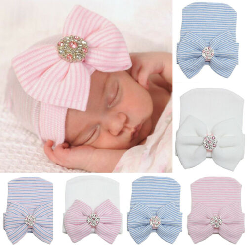 Toddler Infant Baby Girl Striped Comfy Cap Hospital Newborn Bowknot Beanie Hat