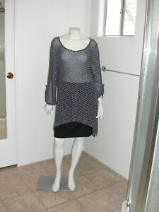 Cal Style Women's X-Large 3/4 Sleeve Blue Punch Detail Eyelet Tunic N.W.T.