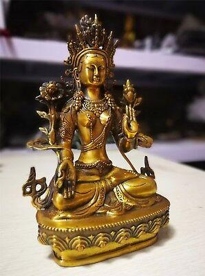 Bronze 4 Arms Kwan-yin Chenrizg Buddha guanyin lucky Avalokiteshvara Statue