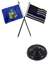 York State & Usa Police Blue 4x6 Flag Desk Set Table Stick Black Base