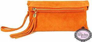 ladies-orange-suede-tassel-clutch-bag