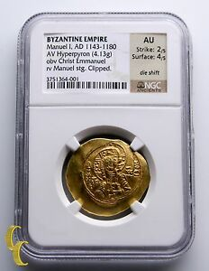 Manuel-I-1143-1180-A-D-Gold-Hyperpyron-Byzantine-Empire-Coin-Graded-by-NGC-AU