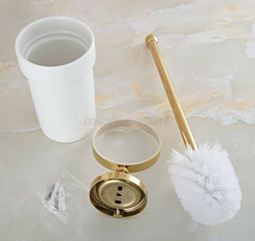 Gold Color Brass Wall Mounted Toilet Brush set With Ceramic Cup Holder lba595