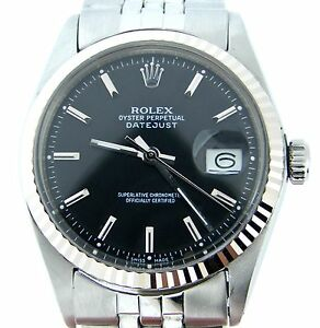 Mens-Rolex-Stainless-Steel-18K-White-Gold-Datejust-Black-w-Jubilee-Band-1601