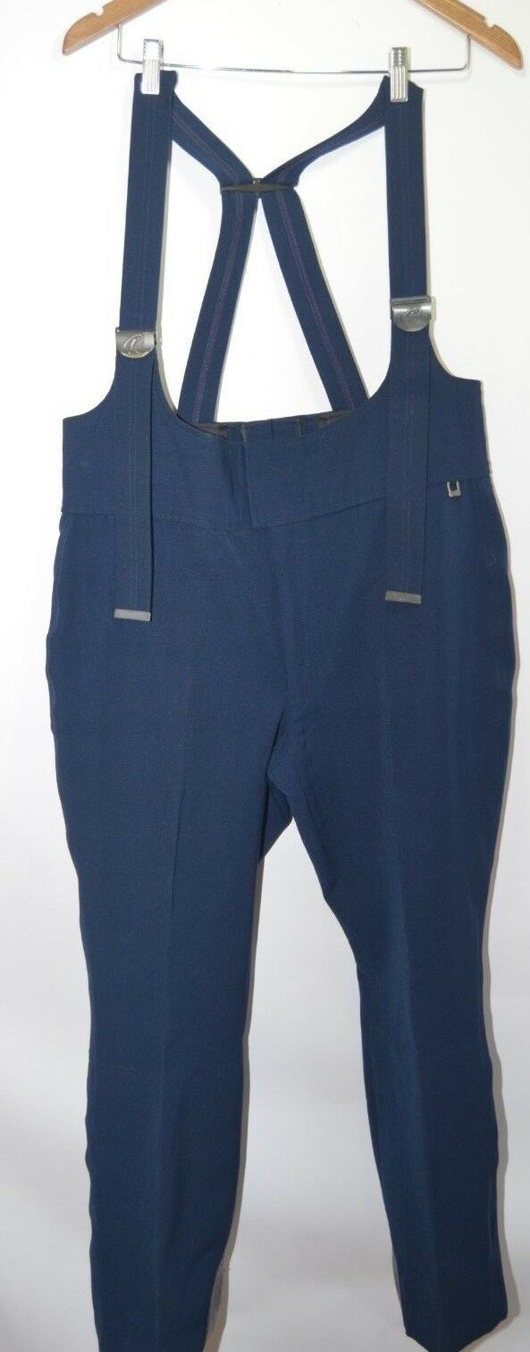 Vtg 40s Roffe Solid bluee Bib Suspender Retro Ski Snow Pants Mens M USA Made