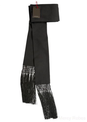 Clergy Band Cincture With Knotted Fringe Vestment For Cassock Black