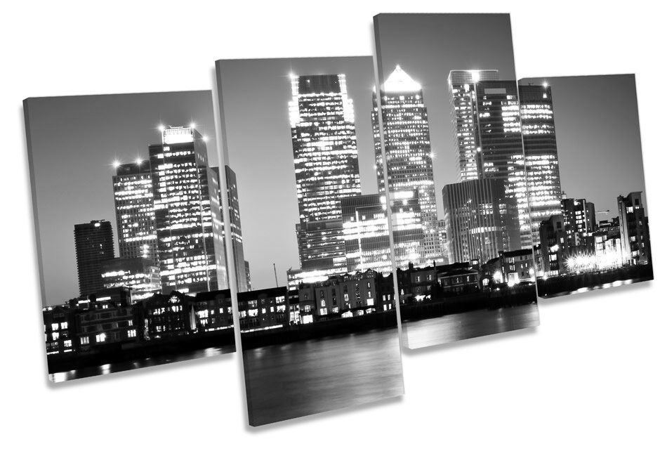 London Canary Wharf City B&W MULTI CANVAS WALL ART Framed Panel