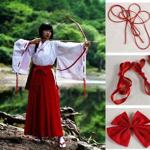 Anime-Cosplay-Inuyasha-Kikyo-Kimono-Costume-Whole-Set-clothes-clogs-socks-wig