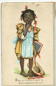 VINTAGE-1900s-VALENTINE-CARD-POSTCARD-BAREFOOT-SCHOOL-GIRL-WITH-STRAW-HAT