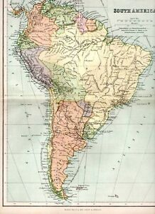 Map Of America Ebay.Details About 1898 Victorian Colour Map South America