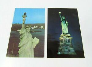Lot-of-2-New-York-City-NY-Statue-of-Liberty-Island-Vintage-Postcard-Dexter-Press