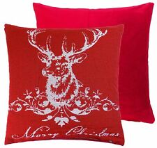 "FILLED CHRISTMAS TREES SNOWFLAKES 100/% COTTON RED WHITE CUSHION 17/"" 43CM C18"