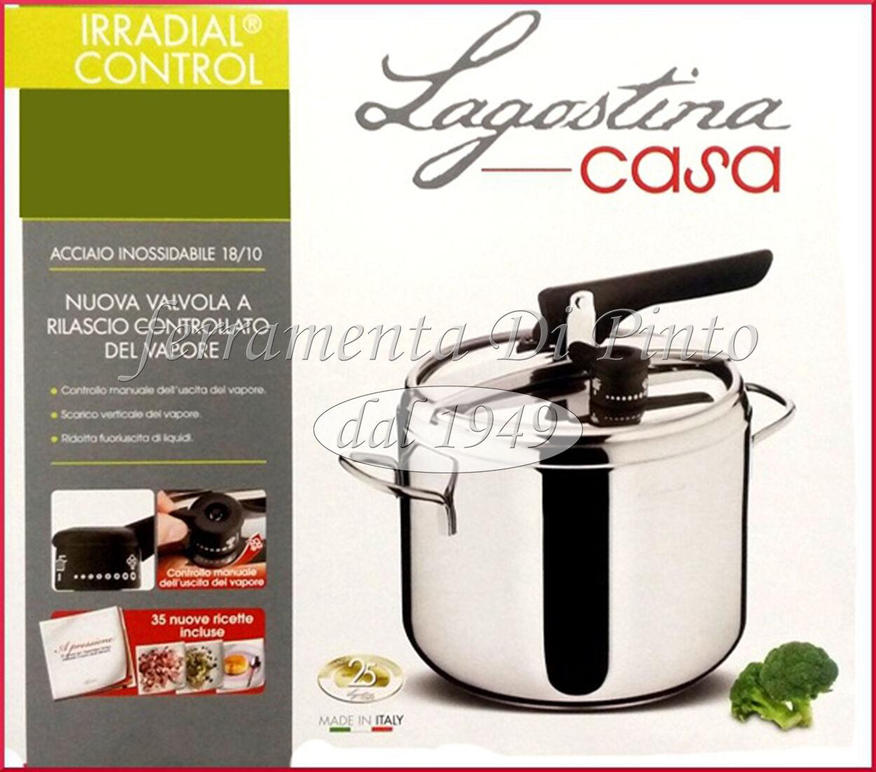 PENTOLA PRESSIONE IRRADIAL CONTROL LT 3,5 ACCIAIO INOX 18 10 LAGOSTINA CASSERUOL
