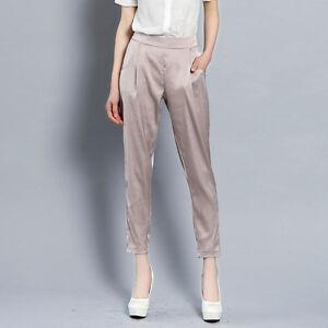 7970e4e3be7 Lady Imitated Silk Trousers Elastic Waist Satin Harem Cropped Pants ...