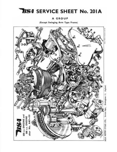 BSA A7 A10 Service Sheets Rigid and Plunger Models  1949-1955 Manual