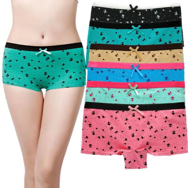 6er Pack Damen Sexy Baumwolle Boxershorts Pantys Unterhose Höschen Unterwäsche