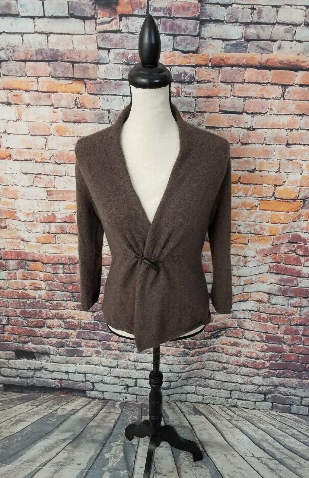 Fenn Wright Manson Long Sleeve Brown 2 Ply CASHMERE Cardigan Wrap Sweater Sz S