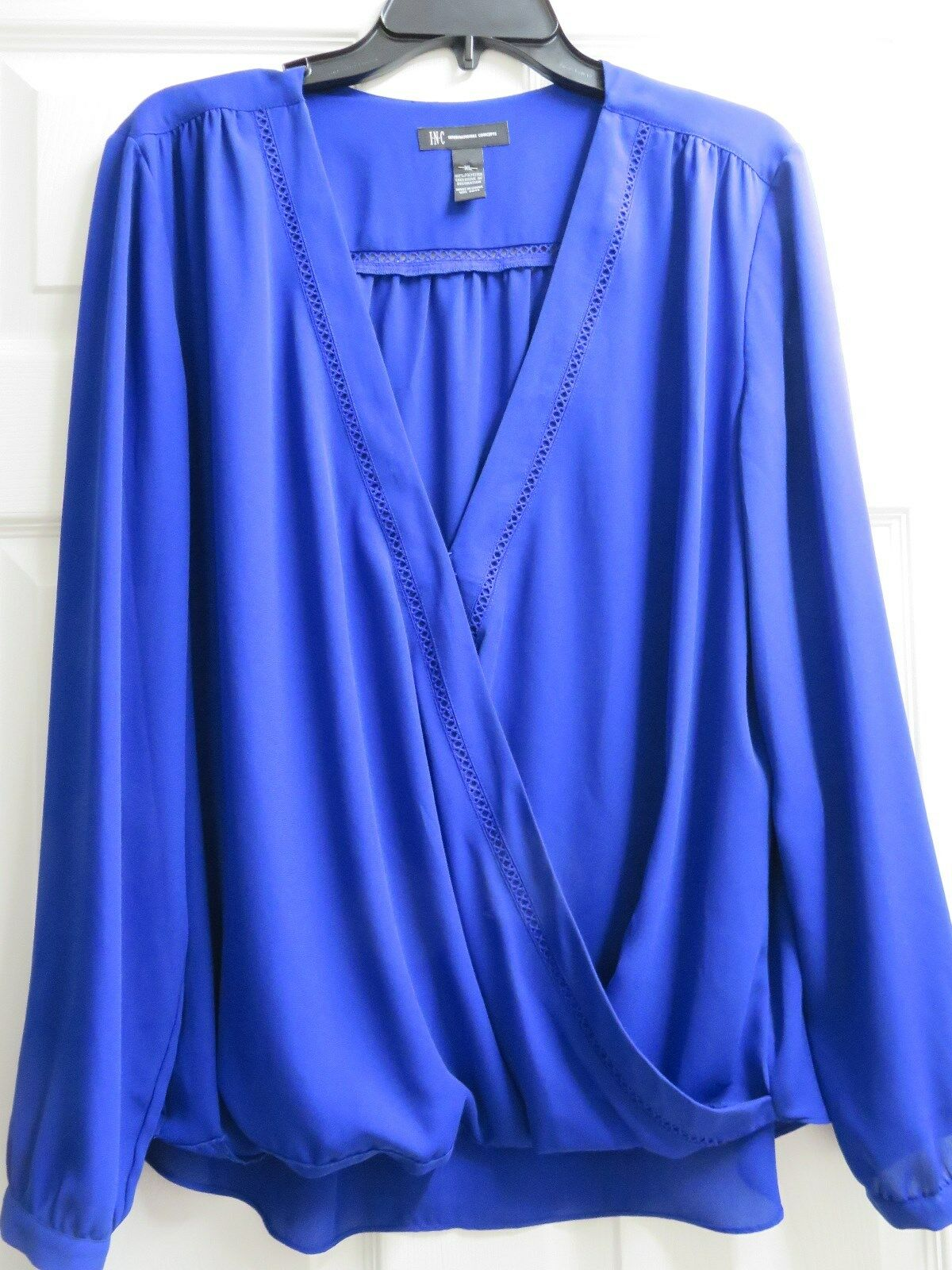 Inc International Concepts Women's Royal bluee Long Sleeve Top XL Draped Front