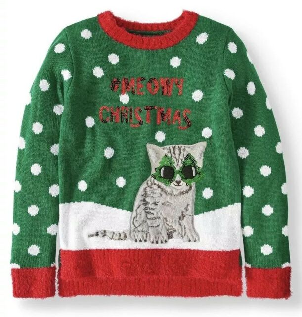 Cat Christmas Sweater.Details About Girl S Kitty Cat Christmas Sweater Size Xs 4 5