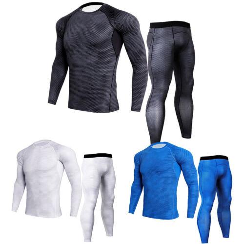 Men Fitness Gym T-shirt+Pants Athletic Bodybuilding Sports Set Suits Tracksuit