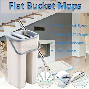 Self-Cleaning-Drying-Mop-Bucket-Flat-Floor-Free-Hand-Wash-Cleaner-Tool-Pads-UK