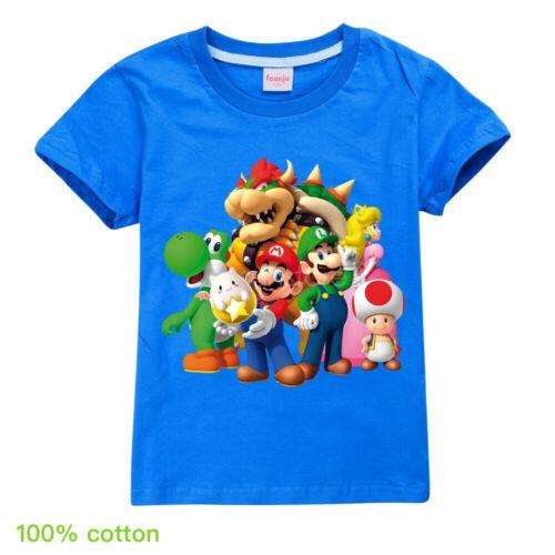 Super mario Bros Luigi yoshi Bowser Boys Kids Short-sleeved T-shirt Top 4-12T