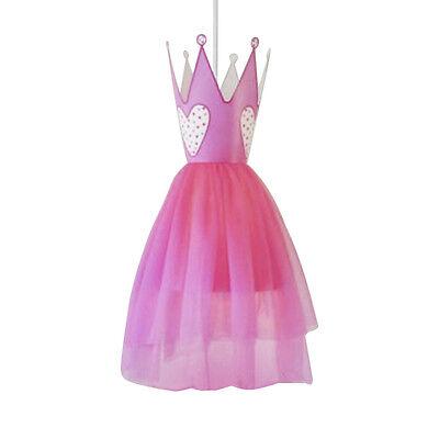 Girls Childrens Pink Princess Hearts Dress Ceiling Pendant Light Lamp Shade NEW