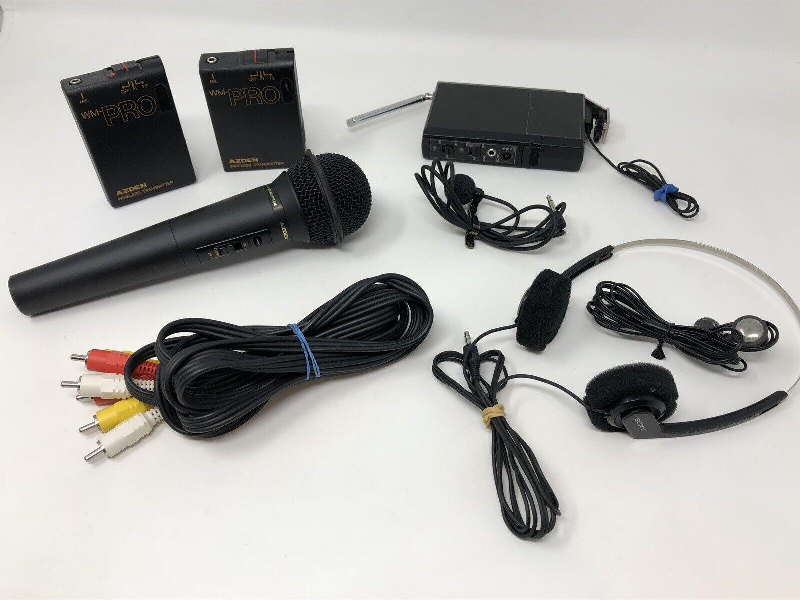 Azden WM-PRO Microphone Lot Transmitter Headphones Lav Mic Audio System