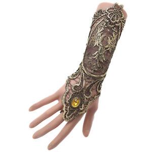 Gothic-Steampunk-Lace-Cuff-Fingerless-Glove-Arm-Warmer-Bracelet-Black-Gold-amp-p-EA