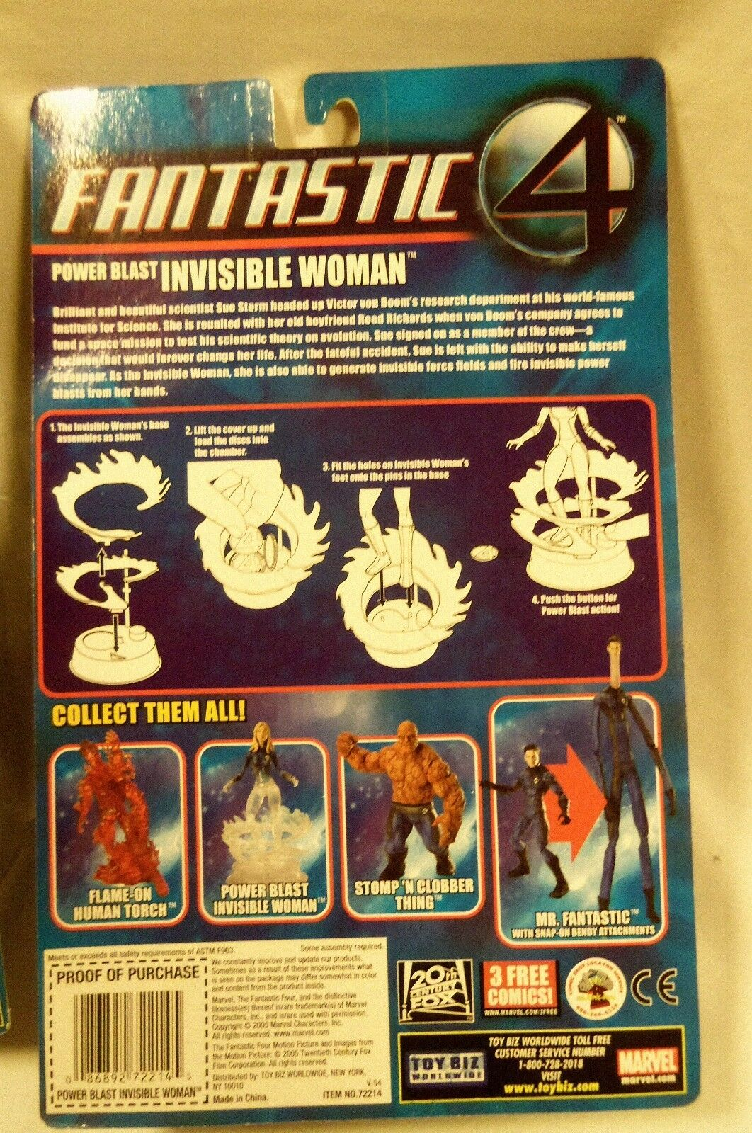 Marvel Fantastic Four Power Blast Invisible Woman Woman Woman Partially Solid Toy Biz MOC 0b4963
